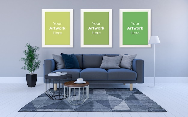 Interior of modern living room with sofa three empty photo frame mockup design