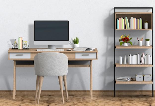 デスクとデスクトップコンピューターとインテリアのモダンなリビングルームのワークスペース