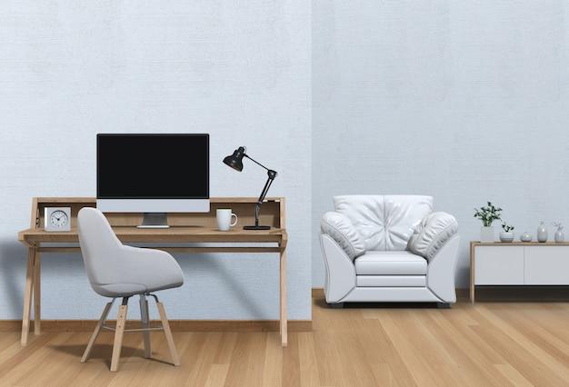 Interior modern living room workspace with sofa, desk, desktop computer