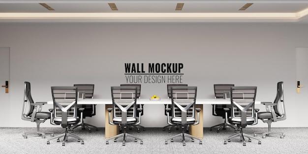 Interno moderno ufficio sala riunioni parete mockup