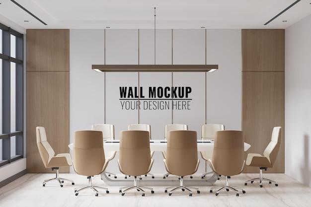 Interior modern office meeting room wall mockup