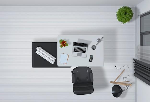 デスクトップコンピュータートップビュー3dレンダリングでオフィスのインテリア