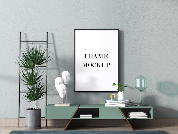 Interior picture frame mockup in 3d rendering