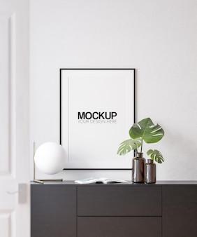 Interior poster frame mockup with modern furniture decoration  3d illustration 3d render