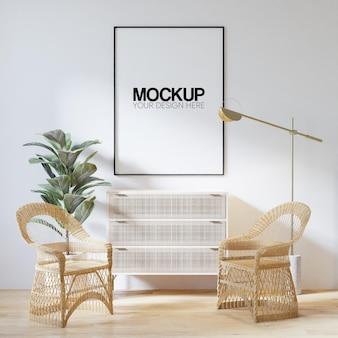 Interior poster frame mockup with modern furniture decoration