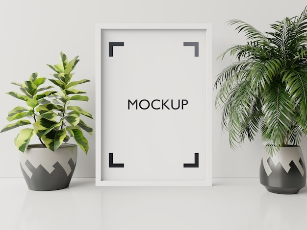 植木鉢でモックアップのインテリアポスター、白い壁の3dレンダリングで部屋に花