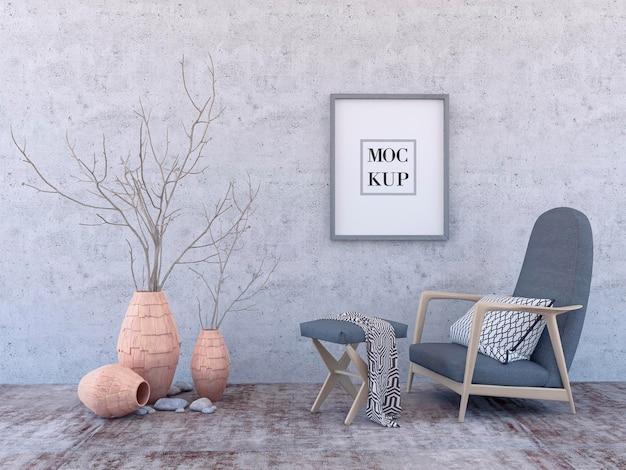 Макет интерьера постера с квадратной пустой деревянной рамой, серым креслом и деревом в плетеной корзине в комнате с серой стеной. 3d-рендеринг.