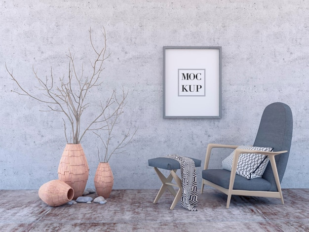 Interior poster mock up with square empty wooden frame, gray armchair and tree in wicker basket in room with grey wall. 3d rendering.