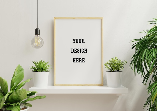 Interior poster mock up with vertical empty wooden frame and plants