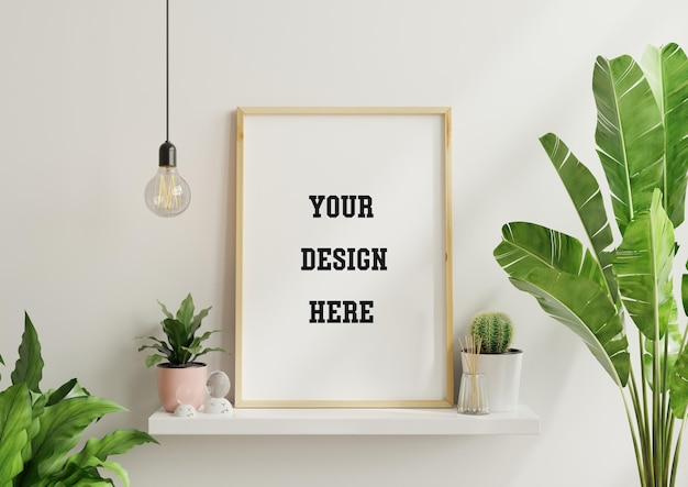 Interior poster mock up with vertical empty wooden frame