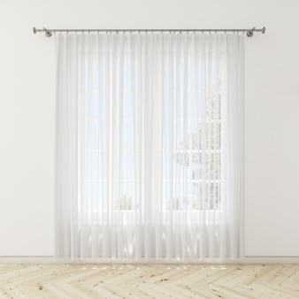 Interior room with white curtains