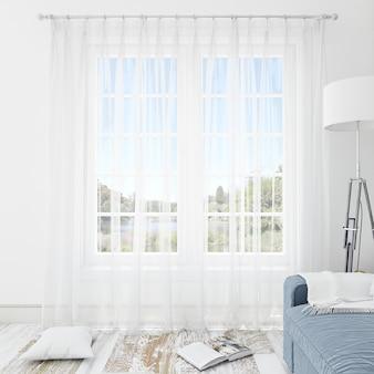 白いカーテンとインテリアルーム