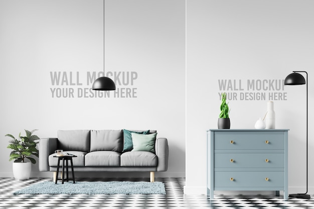 Interior scandinavian living room wallpaper background mockup