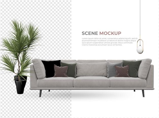 화분 디자인 근처 램프와 의자가있는 실내 장면