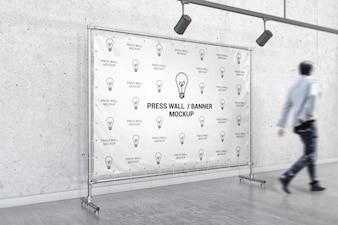 Interior stand banner mockup