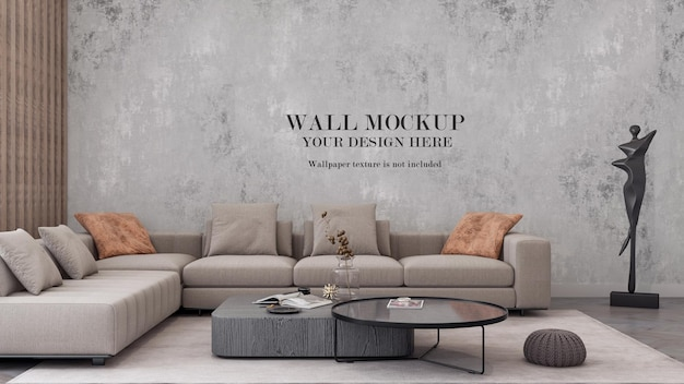 Макет внутренней стены за большим современным тканевым угловым диваном