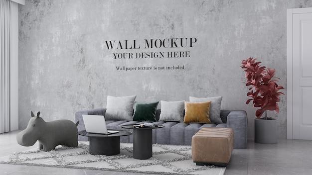 Interior wallpaper mockup behind sofa