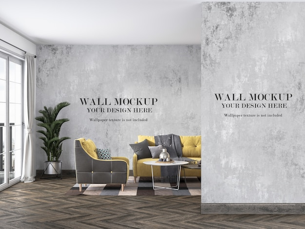 Interior walls mockup behind couch and furniture