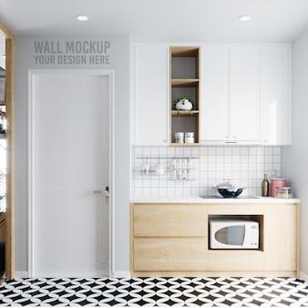 Interior white kitchen wallpaper background mockup