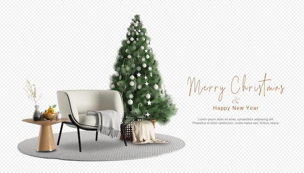 アームチェアと装飾されたクリスマスツリーのインテリア
