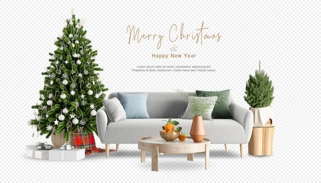 装飾されたクリスマスツリーとソファのあるインテリア