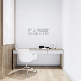 Interior workspace wall background mockup