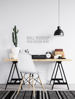 Interior workspace wall mockup