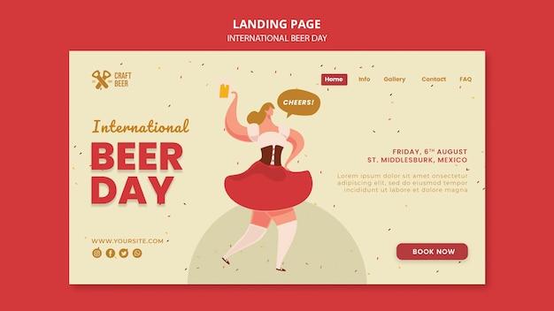 Modello di pagina di destinazione della giornata internazionale della birra