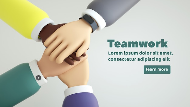 International business team showing unity with their hands together isolated