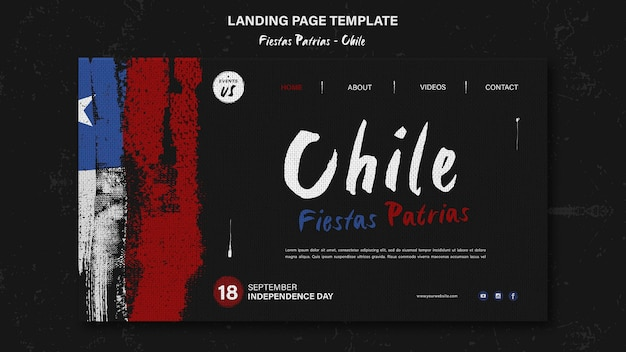 Design della pagina di destinazione della giornata internazionale del cile