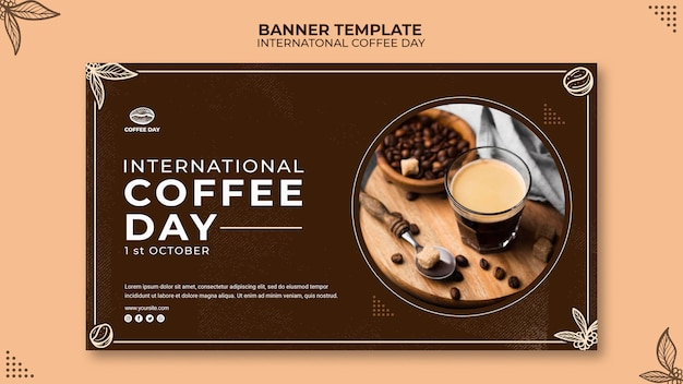 International coffee day banner concept template