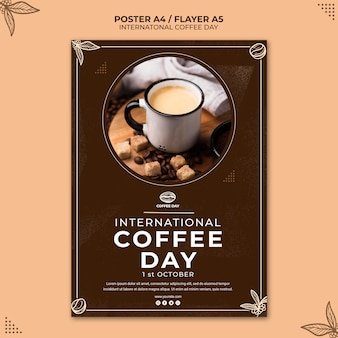 International coffee day flyer concept template