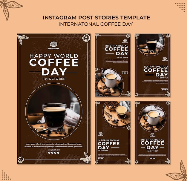 International coffee day instagram stories  concept template