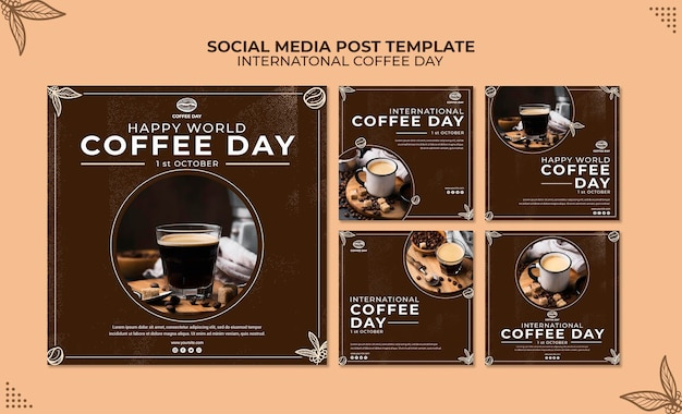 International coffee day social media post concept template