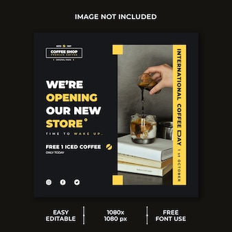 International coffee day social media post template