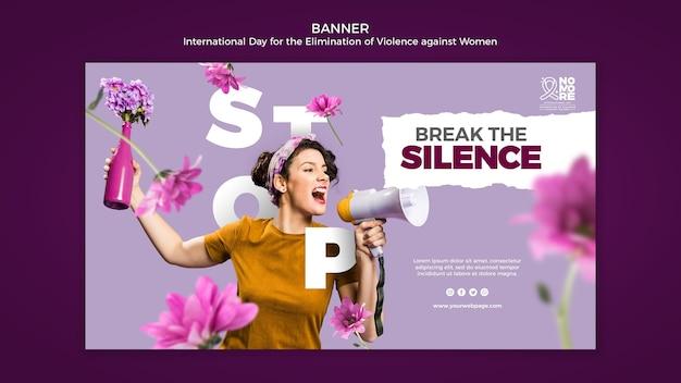 Modello di banner giornata internazionale per l'eliminazione della violenza contro le donne con foto