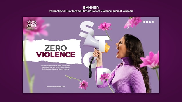 International day for the elimination of violence against women banner with photo
