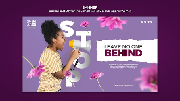 Шаблон баннера международного дня борьбы за ликвидацию насилия в отношении женщин