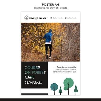 Modello di poster giornata internazionale delle foreste