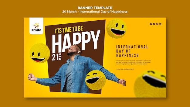 International day of happiness banner template with photo
