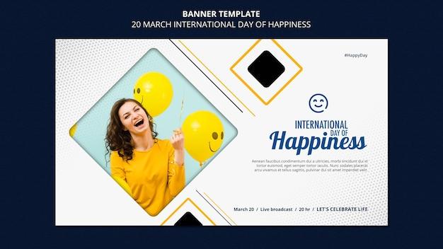 Modello di banner giornata internazionale della felicità Psd Gratuite