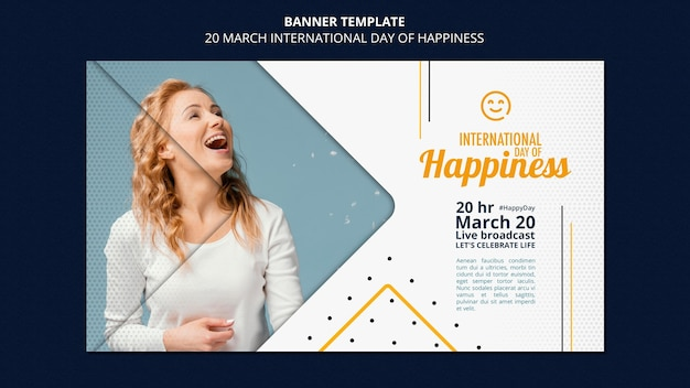 International day of happiness banner template