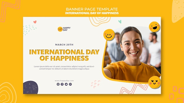 International day of happiness banner