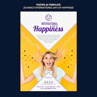 International day of happiness flyer template