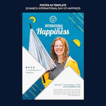Modello di volantino giornata internazionale della felicità Psd Gratuite