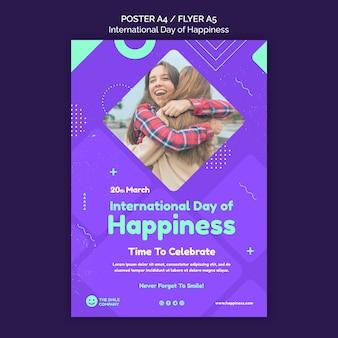 Modello di volantino giornata internazionale della felicità