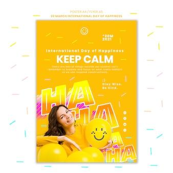 Volantino per la giornata internazionale della felicità con foto