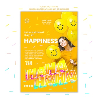 International day of happiness flyer with photo