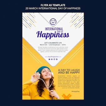 International day of happiness flyer