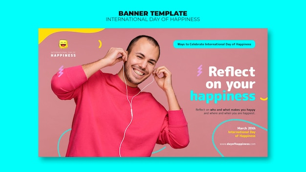 International day of happiness horizontal banner template with photo